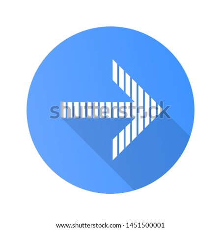 Striped arrow flat design long shadow glyph icon. Arrowhead indicating rightward. Direction pointer. Navigation pointer, indicator. Cursor symbol. Orientation arrow. Vector silhouette illustration