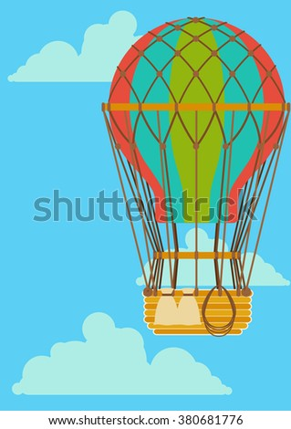 striped balloon rises among the