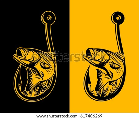 Striped Bass Fishing Illustration Logo