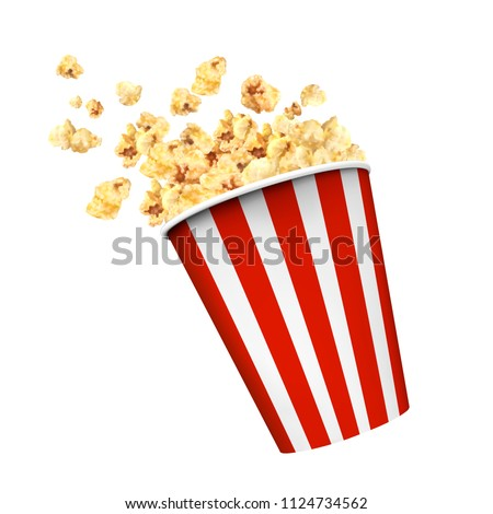 Striped box container with delicious popcorn in 3d illustration on white background Foto stock ©