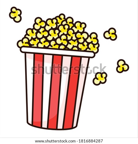 Striped box container with  popcorn flat vector isolated illustration. Popcorn bucket icon. Popcorn isolated vector art.
