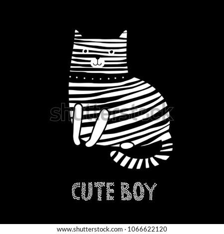 striped cat cute cat vector
