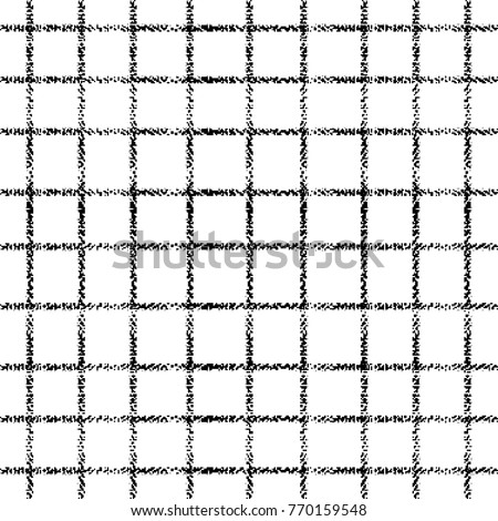 Striped check grunge seamless pattern. Vector white geometric background with black tapestry vertical and horizontal stripes, lines. Isolated waffle texture. Design for fabric, textile, prints, cloth