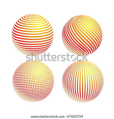 striped colorful ball icon set isolated on white background
