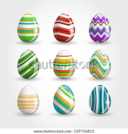 striped easter eggs, easter and spring concept,