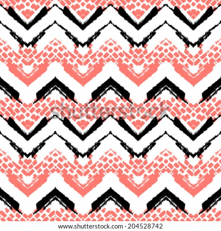 Striped hand painted vector seamless pattern with ethnic and tribal motifs zigzag lines and brushstrokes in bright colors for fall winter fashion