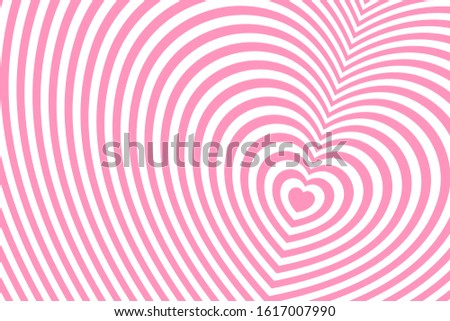 Striped heart shaped pattern. Fashionable ornament with the effect of illusion. Repeating pink and white lines. Minimal flat minimalism.