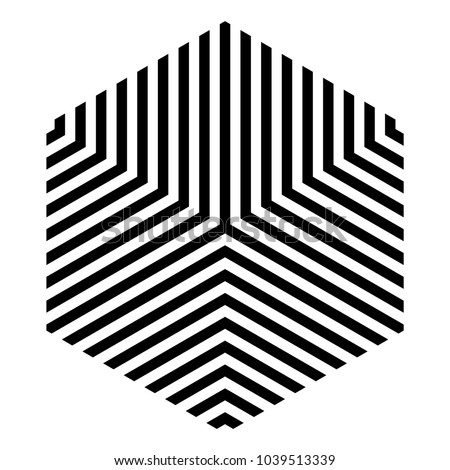 Striped hexagon in black and white, monochrome isometric cube