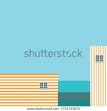 striped houses on the beach