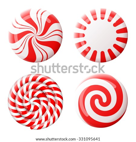 Striped peppermint candies without wrapper. Qualitative vector design element for christmas, new year's day, winter holiday, dessert, new year's eve, food, silvester, etc