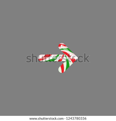 Striped peppermint candy in the shape of right arrow. Vector icon isolated on grey background. Continue icon.  Next sign. glossy Christmas arrow. Holiday clipart