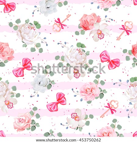 Striped pink seamless vector print with red satin bows, speckles and flowers. Rose, peony, camellia, carnation, anemone, eucalyptus leaves. Dotted backdrop.