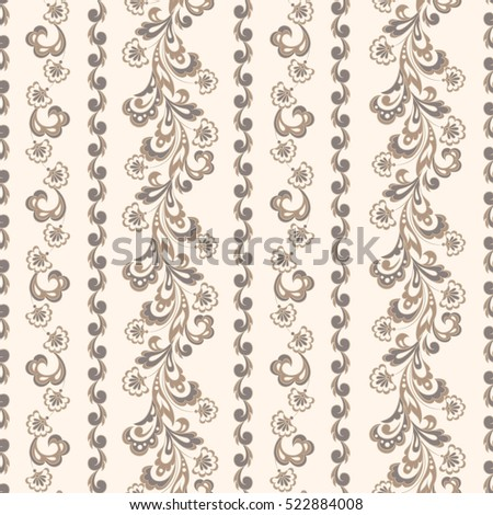 Striped seamless floral background with. Wallpaper vector Illustration #522884008