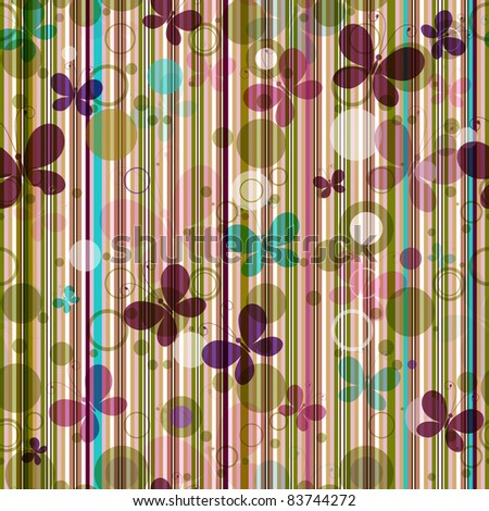 Stock Photo Striped seamless pattern with colorful butterflies (vector EPS 10)