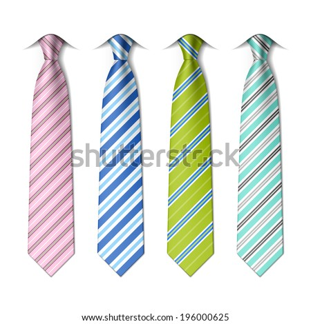 Striped silk ties template Easy editable colors vector