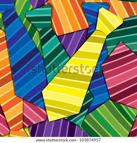 Striped tie sticker card/background in vector format.