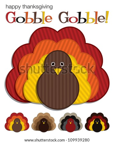 Striped Turkey stickers in vector format.