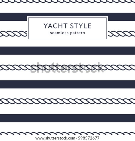 Stripes and ropes seamless pattern. Yacht style design. Striped texture background. Template for prints, wrapping paper, fabrics, covers, flyers, banners, posters and placards. Vector illustration.