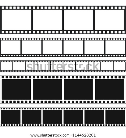 Strips film and stamps collection, stock vector illustration
