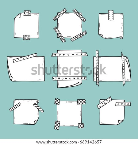 Strips of Masking Tape and Note Paper Set. Hand Drawn Doodle Sticky tape with Paper. Scotch patterned Adhesive tape collection. Vector illustration