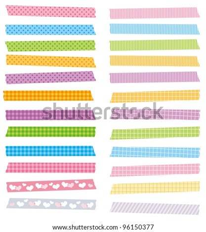 Strips of masking tape. Isolated on white. vector