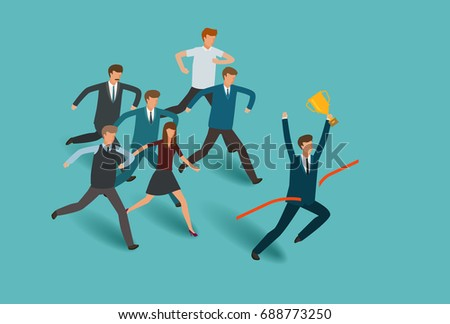 Striving for victory. Business concept. Competition, competitive successful businessman vector illustration