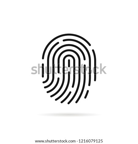stroke fingerprint icon with shadow. flat linear simple trendy macro silhouette logotype graphic app art design isolated on white background. concept of identification sign like fingermark labyrinth