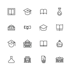 Stroke line icons set of academy. Simple symbols for app development and website design. Vector outline pictograms isolated on a white background. Pack of stroke icons.