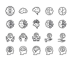 Stroke line icons set of brain. Simple symbols for app development and website design. Vector outline pictograms isolated on a white background. Pack of stroke icons.