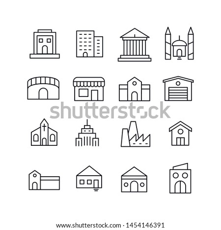 Stroke line icons set of buildings. Simple symbols for app development and website design. Vector outline pictograms isolated on a white background. Pack of stroke icons.