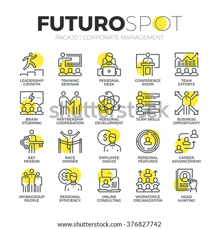 Stroke line icons set of business leadership training and corporate career. Modern flat linear pictogram concept. Premium quality outline symbol collection. Simple vector material design, web graphics