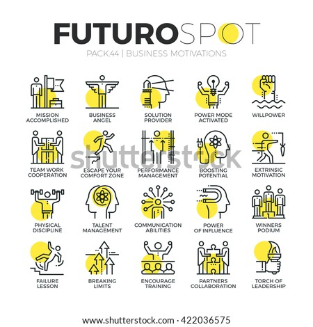 Stroke line icons set of business motivations, discipline and leader skills Modern flat linear pictogram concept Premium quality outline symbol collection Simple vector material design of web graphics