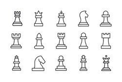 Stroke line icons set of chess. Simple symbols for app development and website design. Vector outline pictograms isolated on a white background. Pack of stroke icons.