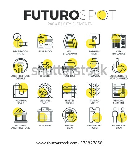 Stroke line icons set of city travel elements, road sign for transportation. Modern flat linear pictogram concept. Premium quality outline symbol collection. Simple vector material design, web graphic