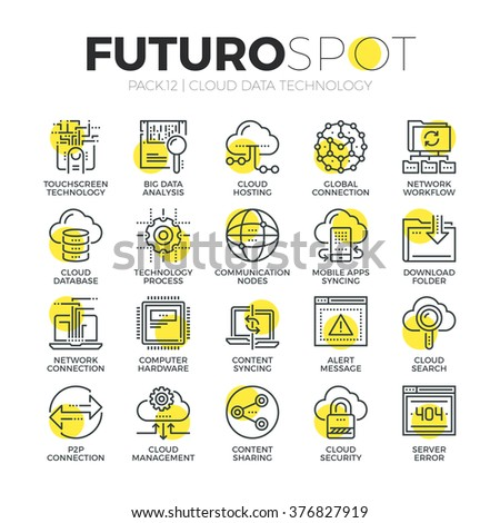 Stroke line icons set of cloud computing big data network technology. Modern flat linear pictogram concept. Premium quality outline symbol collection. Simple vector material design of web graphics.