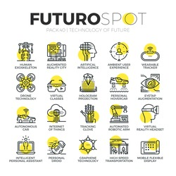 Stroke line icons set of future technology and AI innovations for humans. Modern flat linear pictogram concept. Premium quality outline symbol collection. Simple vector material design of web graphics