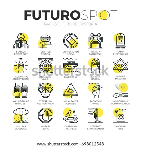 stroke line icons set of future