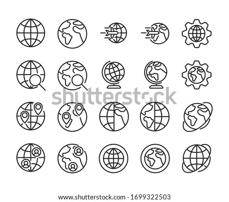 Stroke line icons set of globe. Simple symbols for app development and website design. Vector outline pictograms isolated on a white background. Pack of stroke icons.