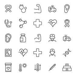 Stroke line icons set of healthcare. Simple symbols for app development and website design. Vector outline pictograms isolated on a white background. Pack of stroke icons.
