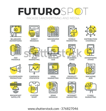 Stroke line icons set of media channels for advertising and marketing ads. Modern flat linear pictogram concept. Premium quality outline symbol collection. Simple vector material design, web graphics.