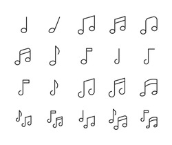 Stroke line icons set of music note. Simple symbols for app development and website design. Vector outline pictograms isolated on a white background. Pack of stroke icons.