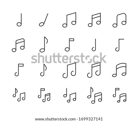 Stroke line icons set of music note. Simple symbols for app development and website design. Vector outline pictograms isolated on a white background. Pack of stroke icons.  Foto stock ©