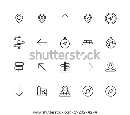 Stroke line icons set of navigation. Simple symbols for app development and website design. Vector outline pictograms isolated on a white background. Pack of stroke icons. Photo stock ©