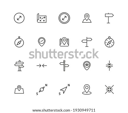 Stroke line icons set of navigation. Simple symbols for app development and website design. Vector outline pictograms isolated on a white background. Pack of stroke icons. Сток-фото ©