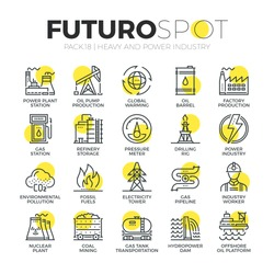 Stroke line icons set of power plant, resource mining, electricity industry. Modern flat linear pictogram concept. Premium quality outline symbol collection. Simple vector material design, web graphic