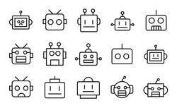 Stroke line icons set of robot. Simple symbols for app development and website design. Vector outline pictograms isolated on a white background. Pack of stroke icons.