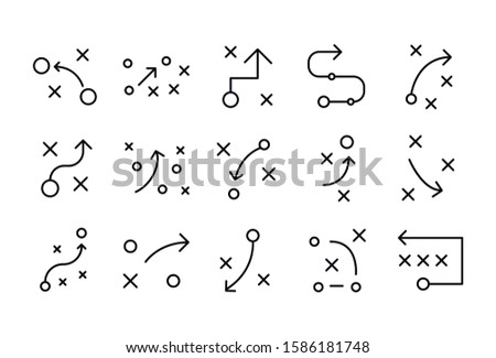 Stroke line icons set of strategy. Simple symbols for app development and website design. Vector outline pictograms isolated on a white background. Pack of stroke icons.  Foto stock ©
