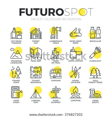 Stroke line icons set of survival tourism recreation, outdoor camping . Modern flat linear pictogram concept. Premium quality outline symbol collection. Simple vector material design of web graphics.
