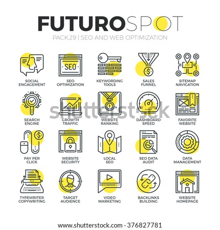 Stroke line icons set of website SEO process, of search engine optimization. Modern flat linear pictogram concept. Premium quality outline symbol collection. Simple vector material design, web graphic