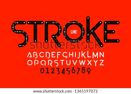 Stroke line style font, alphabet letters and numbers vector illustration